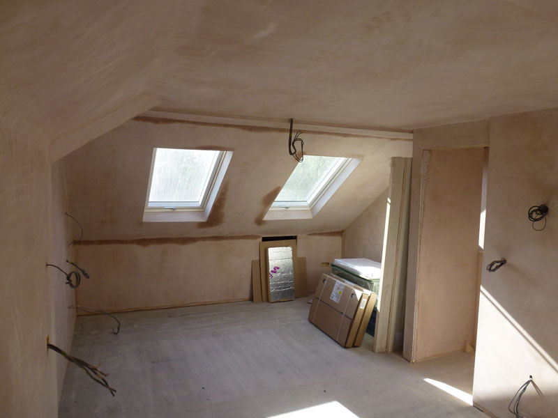 Northern heights Loft Conversion Room Plastered